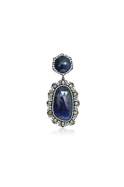 Sutra - Rough Sapphire & Diamond Pendant