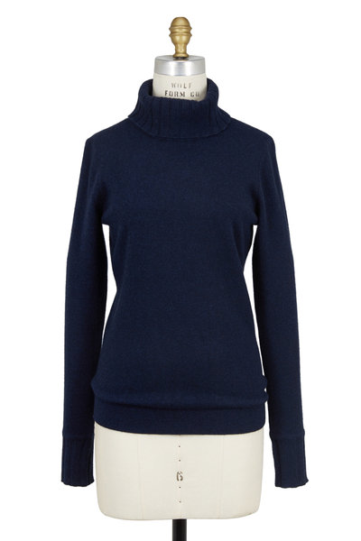Kinross - Blue Chunky Ribbed Cashmere Turtleneck Sweater