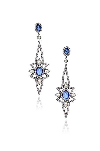 Sutra - Diamond & Sapphire Earrings