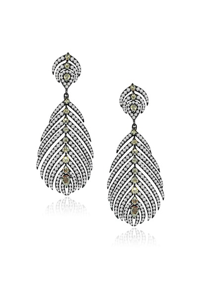 Sutra - Rose Gold Feather Diamond Dangle Earrings