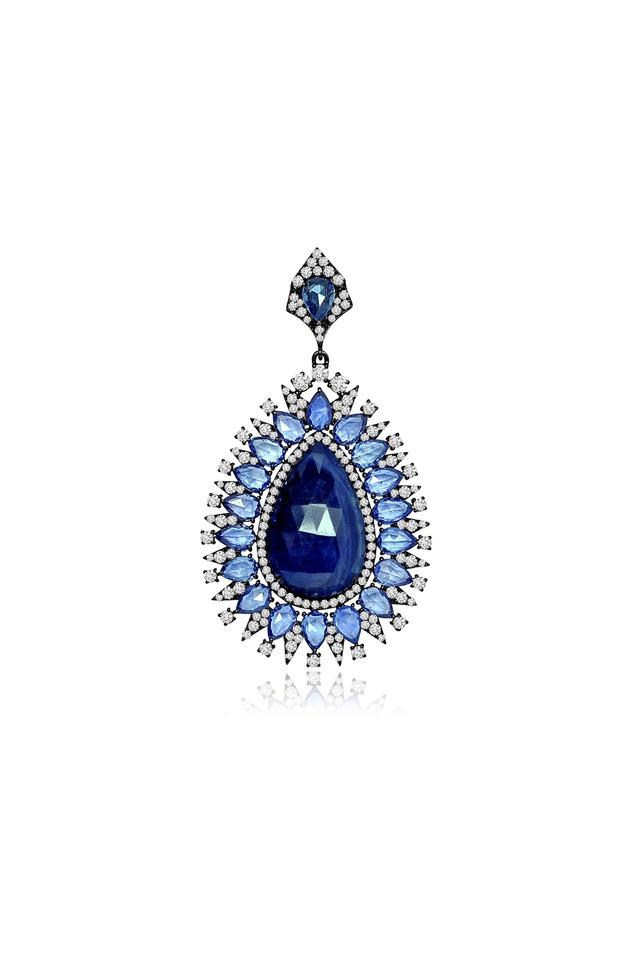 Rough Sapphire Diamond Pendant