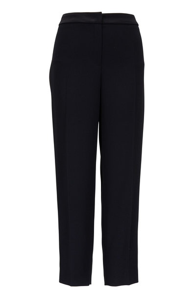 Escada - Black Crêpe & Satin Trim Tuxedo Ankle Pants
