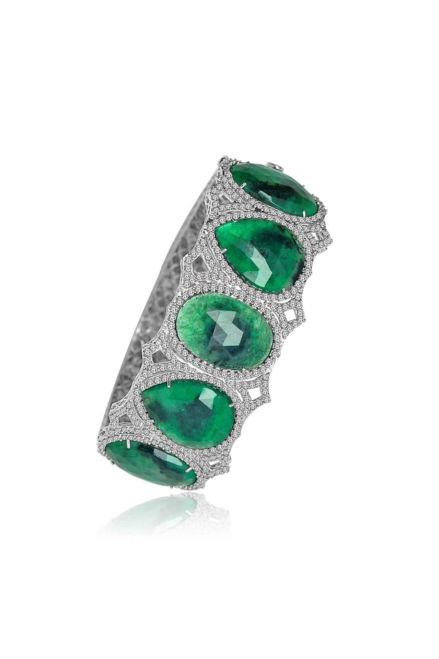 White Gold & Emerald Diamond Bracelet