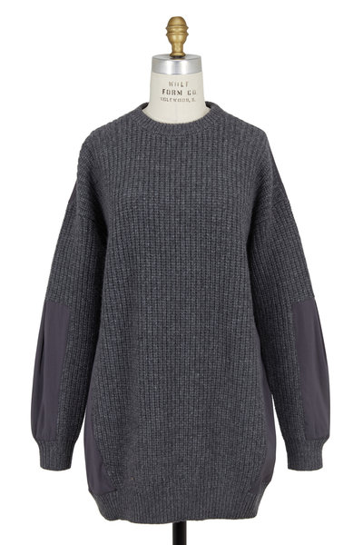 Brunello Cucinelli - Charcoal Gray Ribbed Cashmere & Silk Tunic Sweater