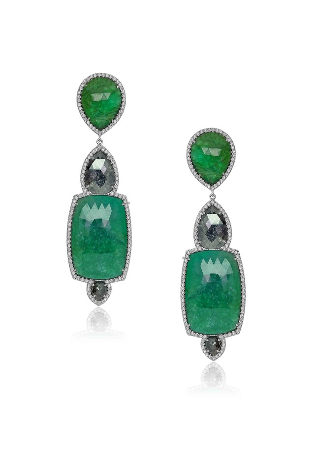 Rough Diamond Emerald Earrings