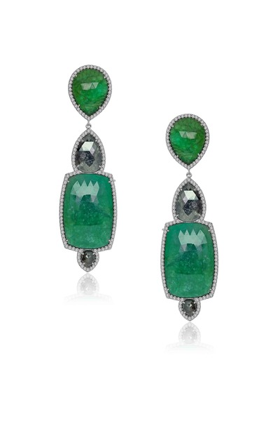 Sutra - Rough Diamond Emerald Earrings