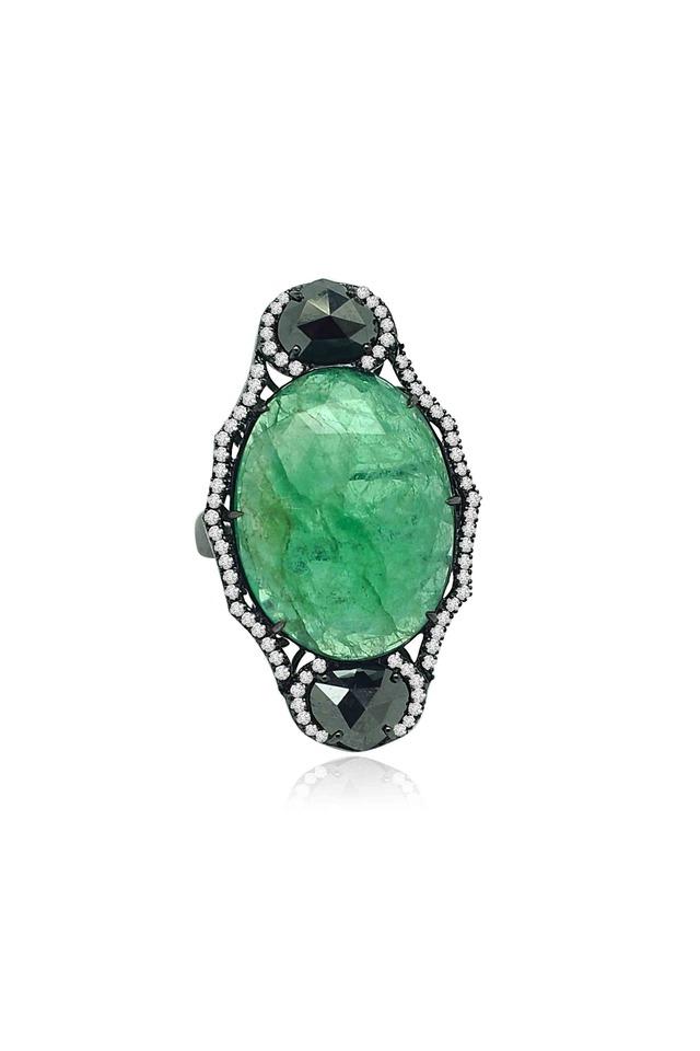 Sliced Emerald Diamond Ring