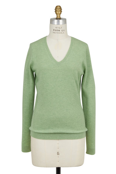 Kinross - Aloe Cashmere Wrap Seam V-Neck Sweater