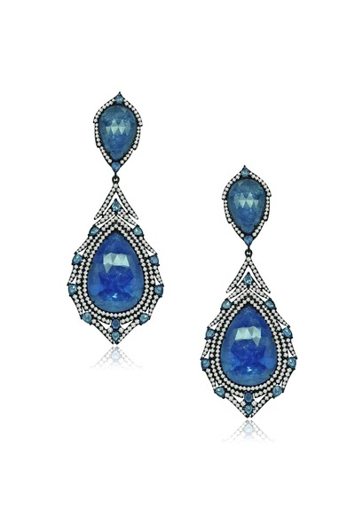Sutra - White Gold Sapphire Diamond Earrings