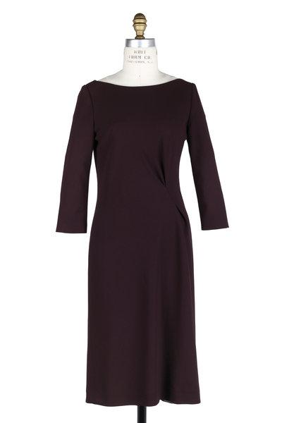 Kiton - Burgundy Wool Blend Side Drape Dress