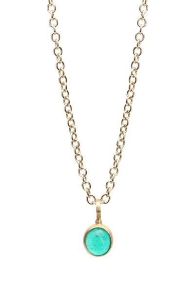 Caroline Ellen - 22K Yellow Gold Emerald Pendant Necklace