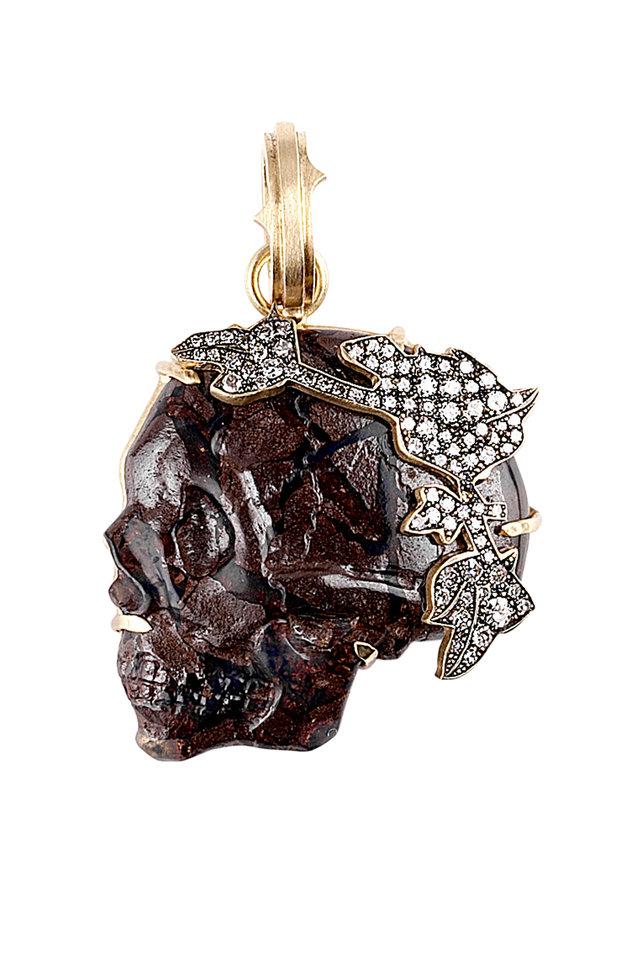 Gold Opal Skull Pendant