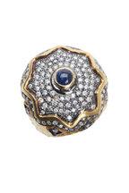 Loren Jewels - Gold & Silver Blue Sapphire & Diamond Ring