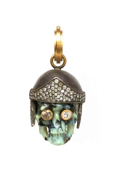 Sylva & Cie - Gold & Silver Turquoise Diamond Spartacus Pendant