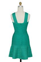 Herve Leger - Elisha Green Opal Flounce Hem Bandage Dress