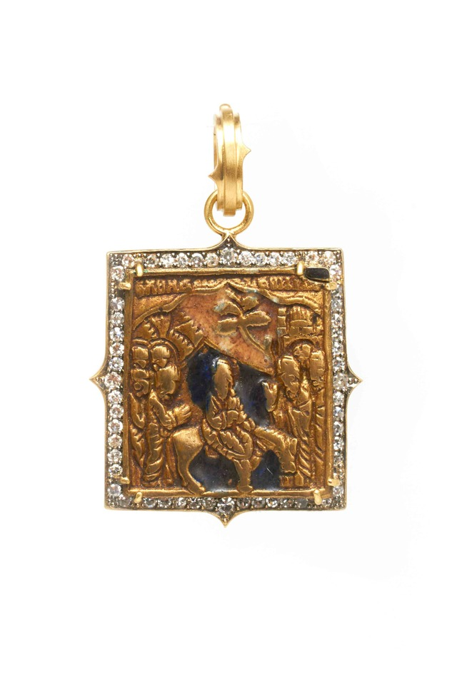 Yellow Gold Bronze Russian Icon Diamond Pendant