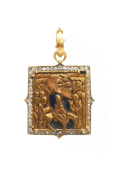 Sylva & Cie - Yellow Gold Bronze Russian Icon Diamond Pendant