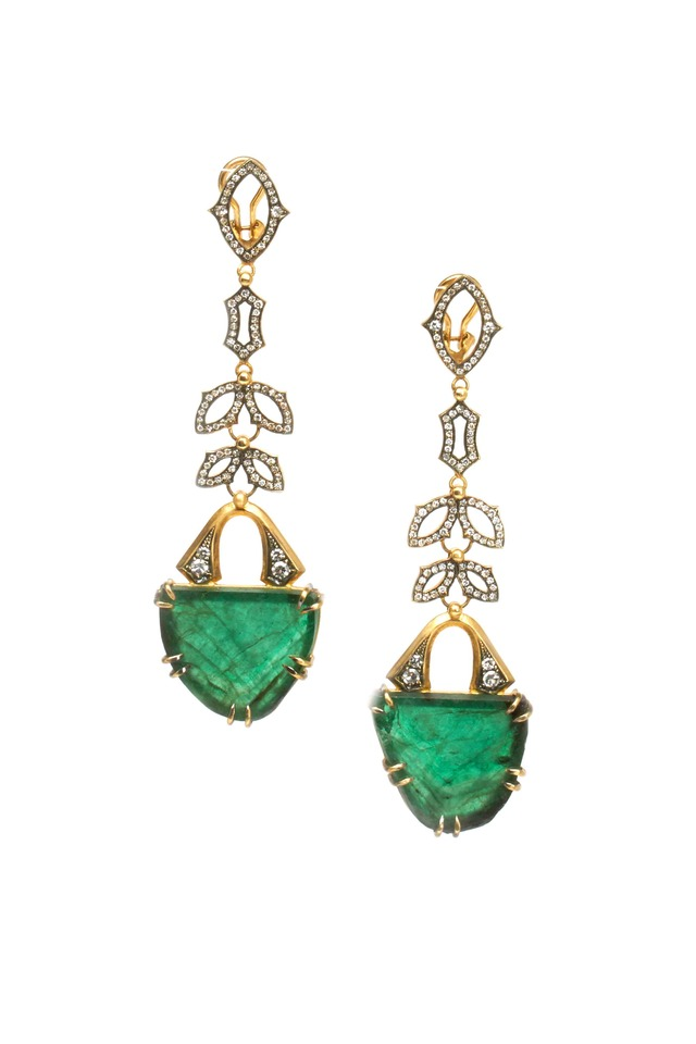 Yellow Gold Green Emerald Diamond Drop Earrings
