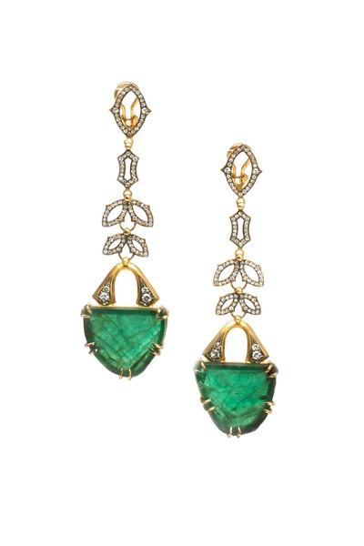 Sylva & Cie - Yellow Gold Green Emerald Diamond Drop Earrings