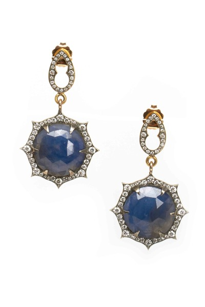 Sylva & Cie - Gold Sapphire Earrings