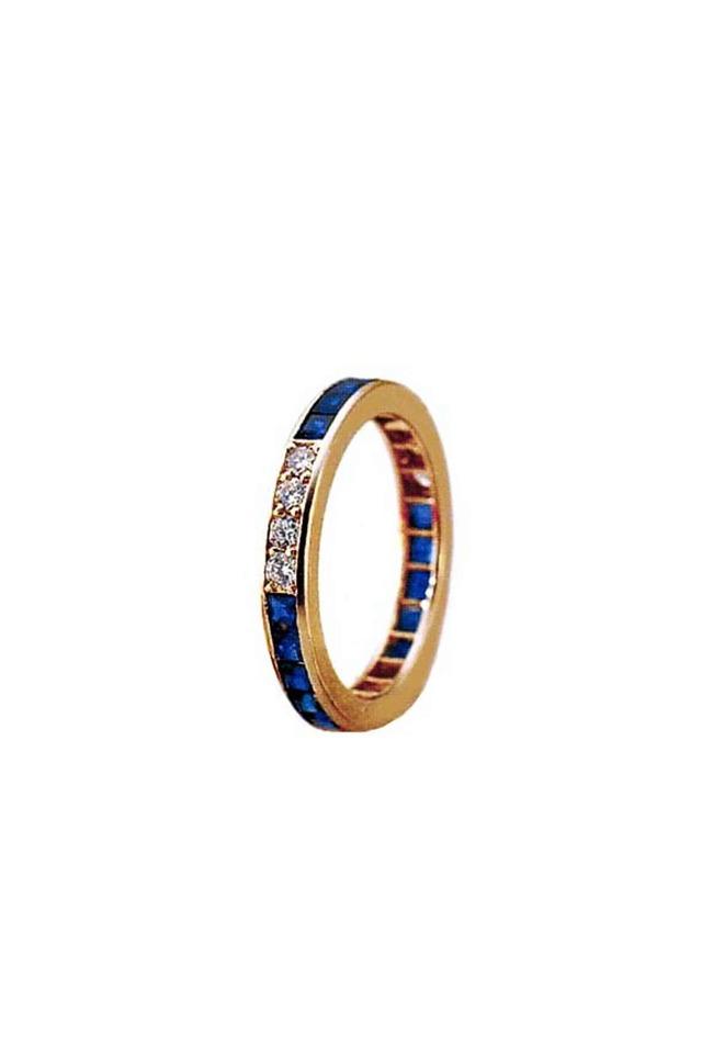Gold Sapphire & Diamond Guard Ring
