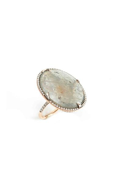 Sylva & Cie - Large Rose Gold Oval Sapphire & Diamond Ring