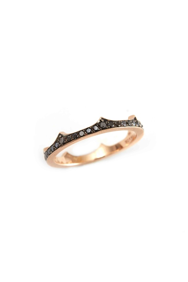 Pink Gold Black Diamond Crown Band Ring
