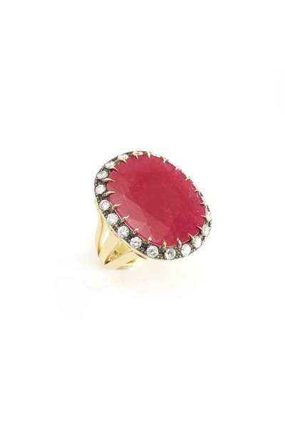 Sylva & Cie - Gold Cushion Ruby Diamond Ring