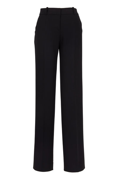 Giorgio Armani - Black Stretch Wool Crepe Classic Dress Pants