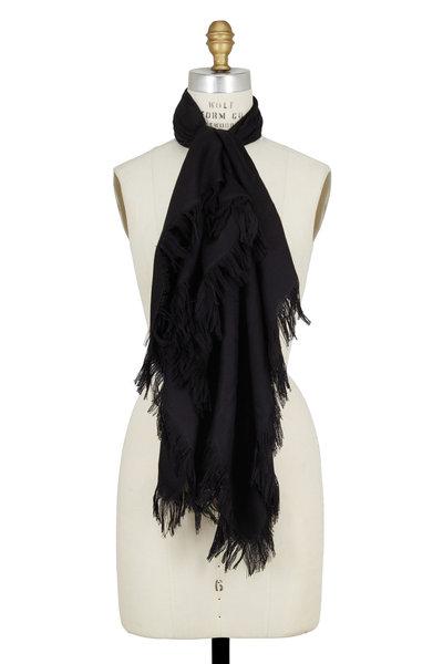 Gucci - Black Wool & Silk Fringe Scarf