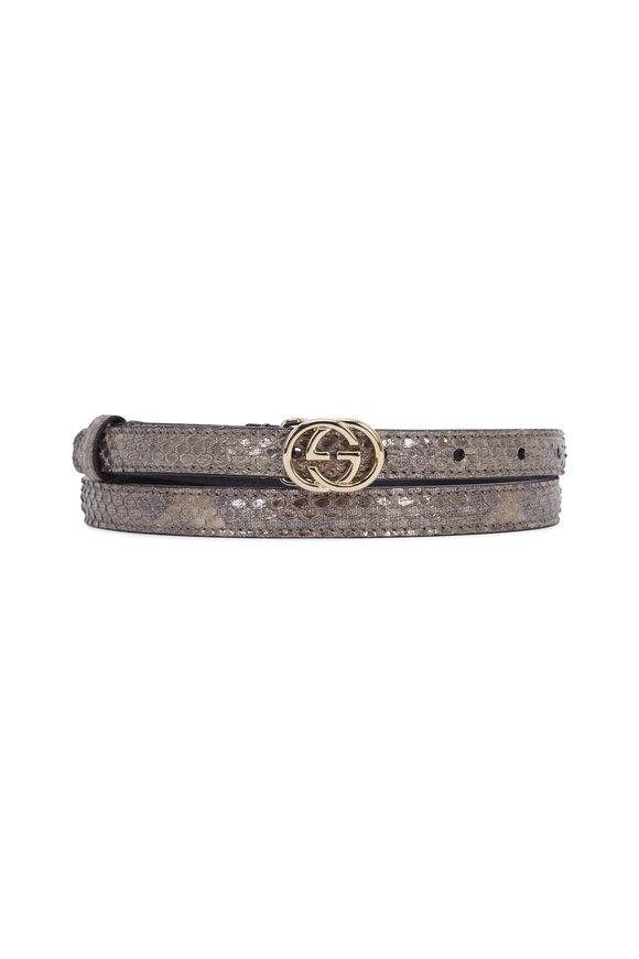 Gucci Gunmetal Python Interlocking G Buckle Belt