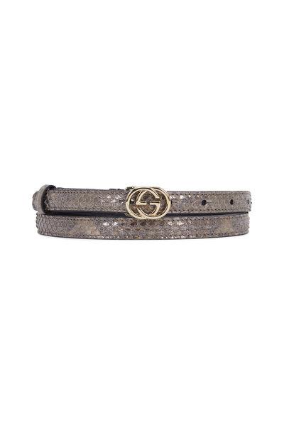 Gucci - Gunmetal Python Interlocking G Buckle Belt