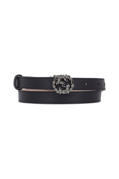 Gucci - Black Leather Crystal Interlocking G Buckle Belt