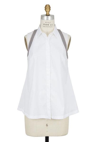 Brunello Cucinelli - White Poplin & Silk Monili Suspender Blouse