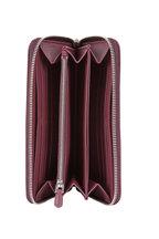 Prada - Burgundy Pebbled Leather Zip-Around Wallet