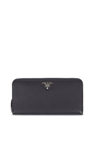 Prada - Black Pebbled Leather Zip-Around Wallet