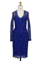 Lela Rose - Royal Blue & Black Corded Lace V-Neck Dress
