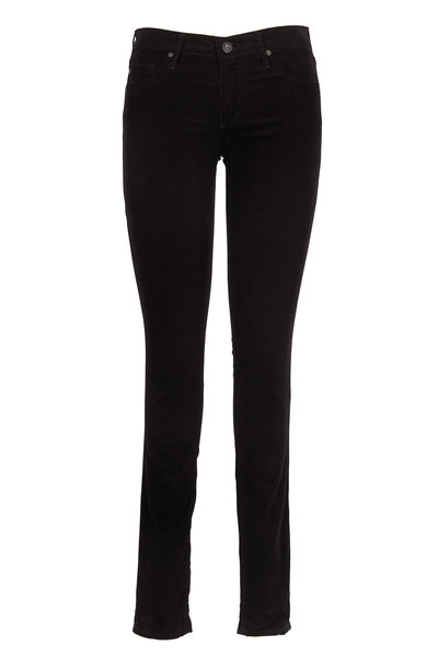 AG - Black Corduroy Five Pocket Legging Jeans