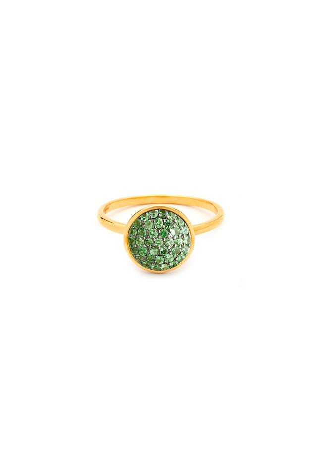 Chakra Yellow Gold Tsavorite Garnet Ring