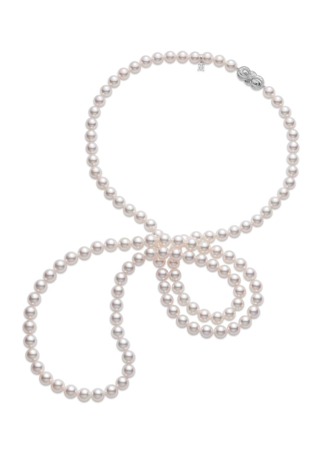White Gold Diamond Akoya Pearl Necklace