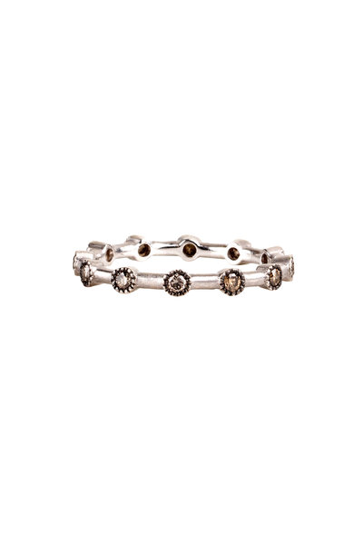 Sylva & Cie - White Gold Champagne Diamond Dot Ring