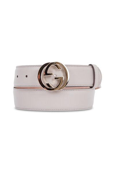Gucci - Gray Leather Interlocking G Buckle Belt