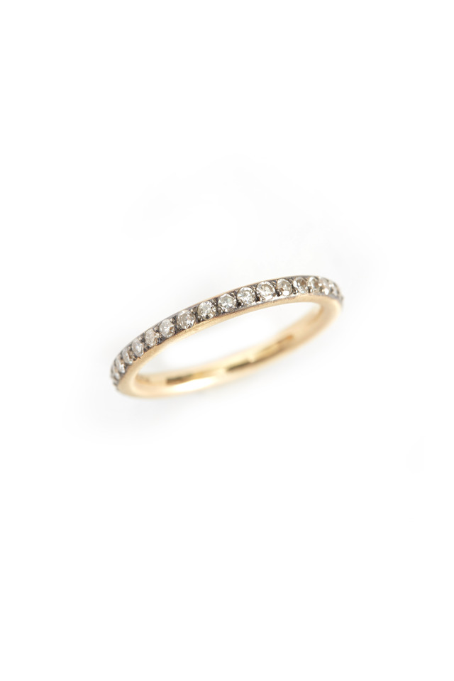 14K Yellow Gold Gray Diamond Band