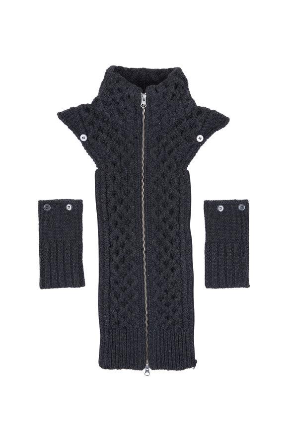 Veronica Beard Upstate Charcoal Wool Fisherman Knit Dickey