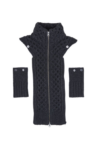 Veronica Beard - Upstate Charcoal Wool Fisherman Knit Dickey
