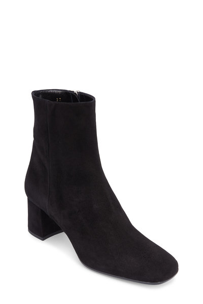 Prada - Black Suede Square Toe Ankle Boot, 55mm