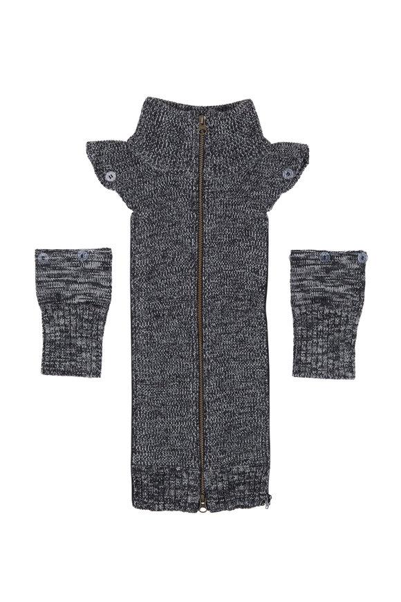 Veronica Beard Uptown Black Mélange Wool Dickey & Cuffs
