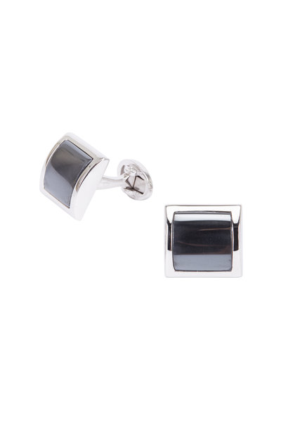 Jan Leslie - Sterling Silver Curved Square Gray Cuff Links