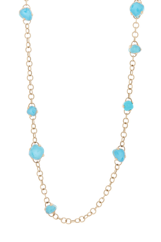 Capri Rose Gold Turquoise Rock Crystal Necklace