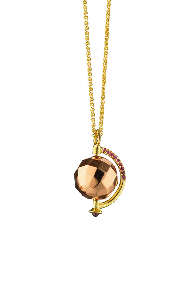 18K Yellow & Rose Gold Mars Charm Necklace